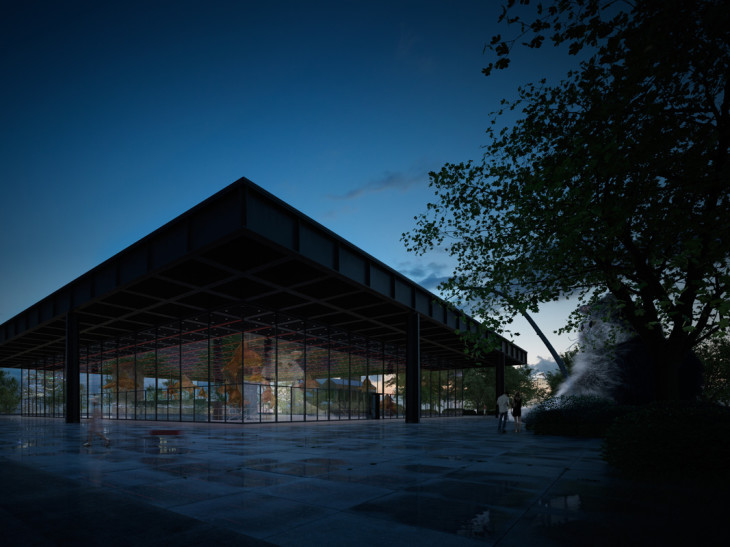 neue gallery at night architectural rendering