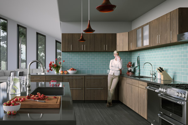 Kitchen rendering with strawberries and person.