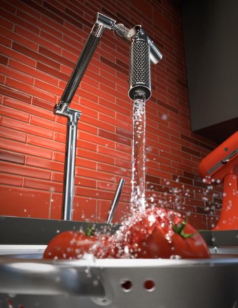 Kitchen Faucet Splashing Water 3d Rendering