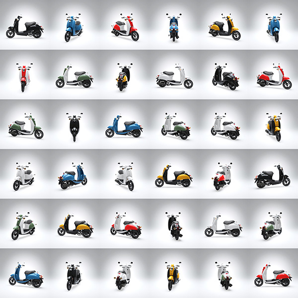 scooter color array 3d renderings