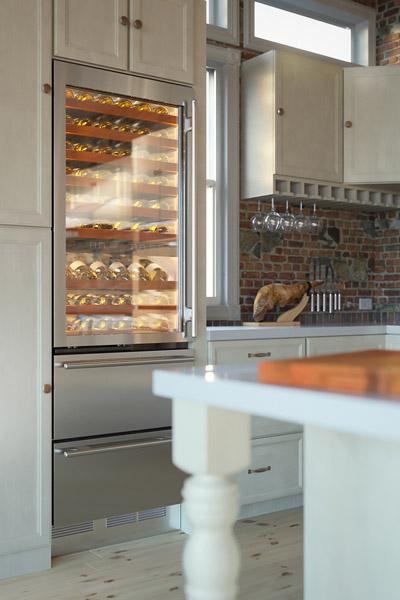 wine cooler 3d rendering in kitchen using cgi
