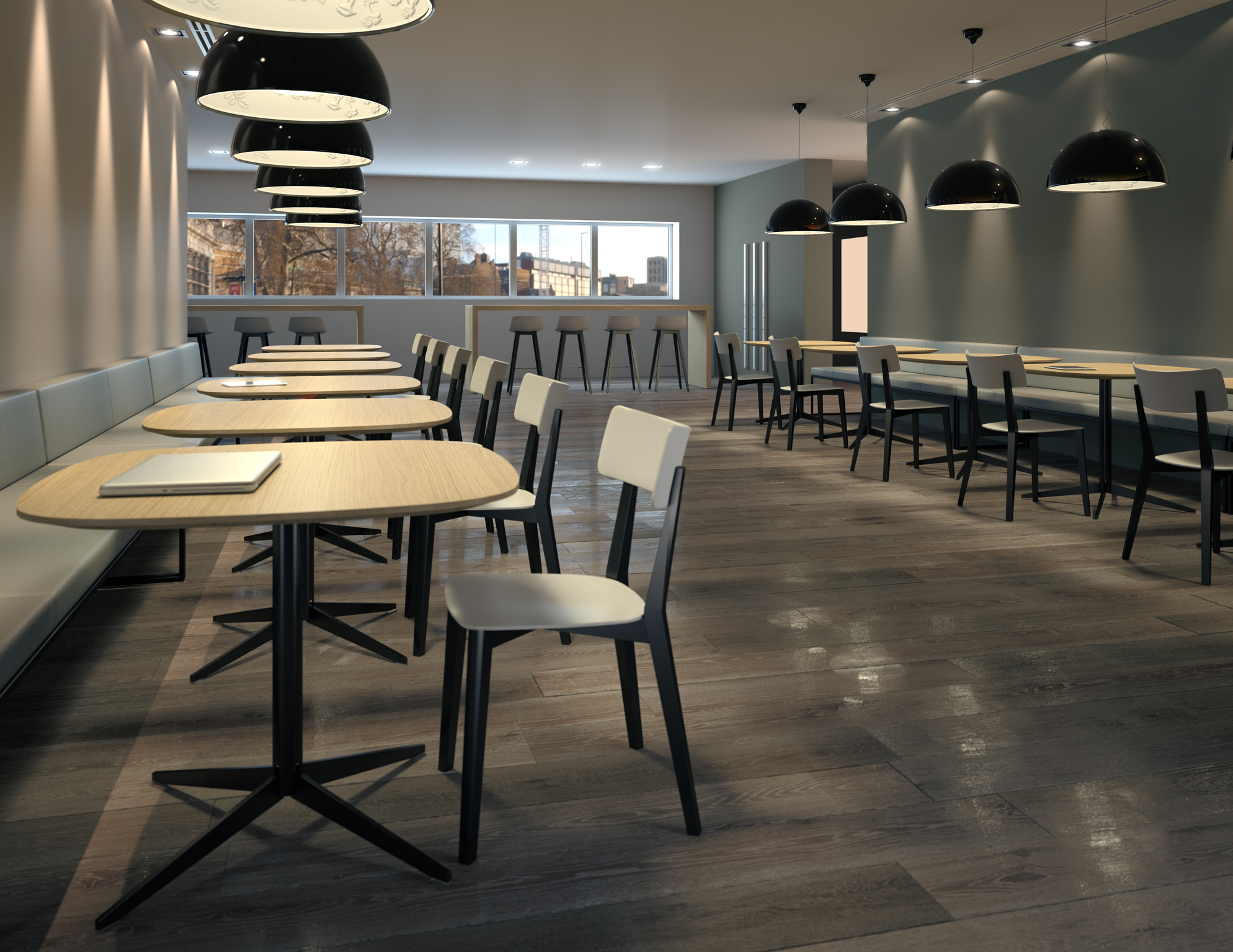 3d rendering of a corporate cafeteria