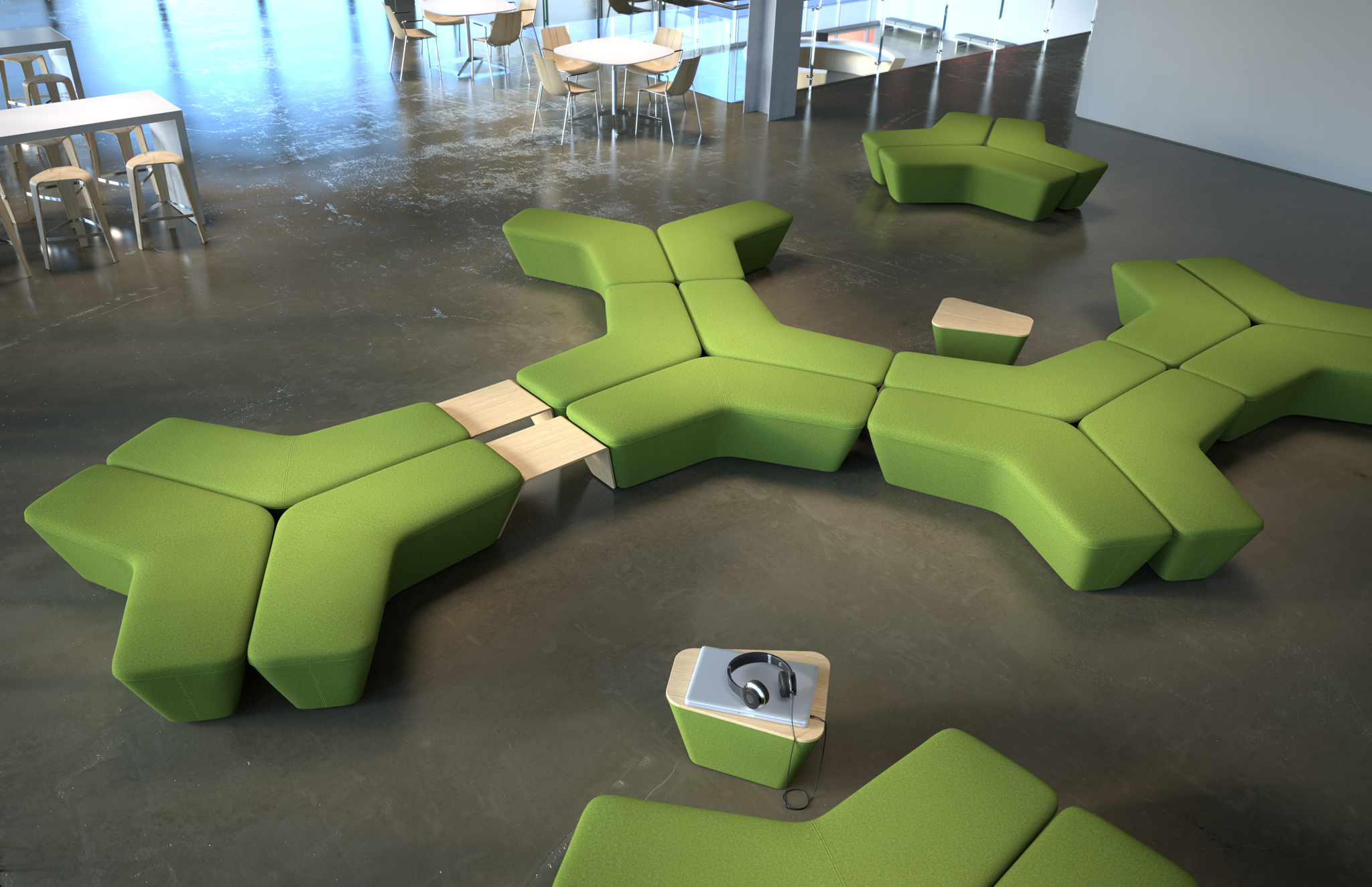 3d rendering of a couch breakout space furniture