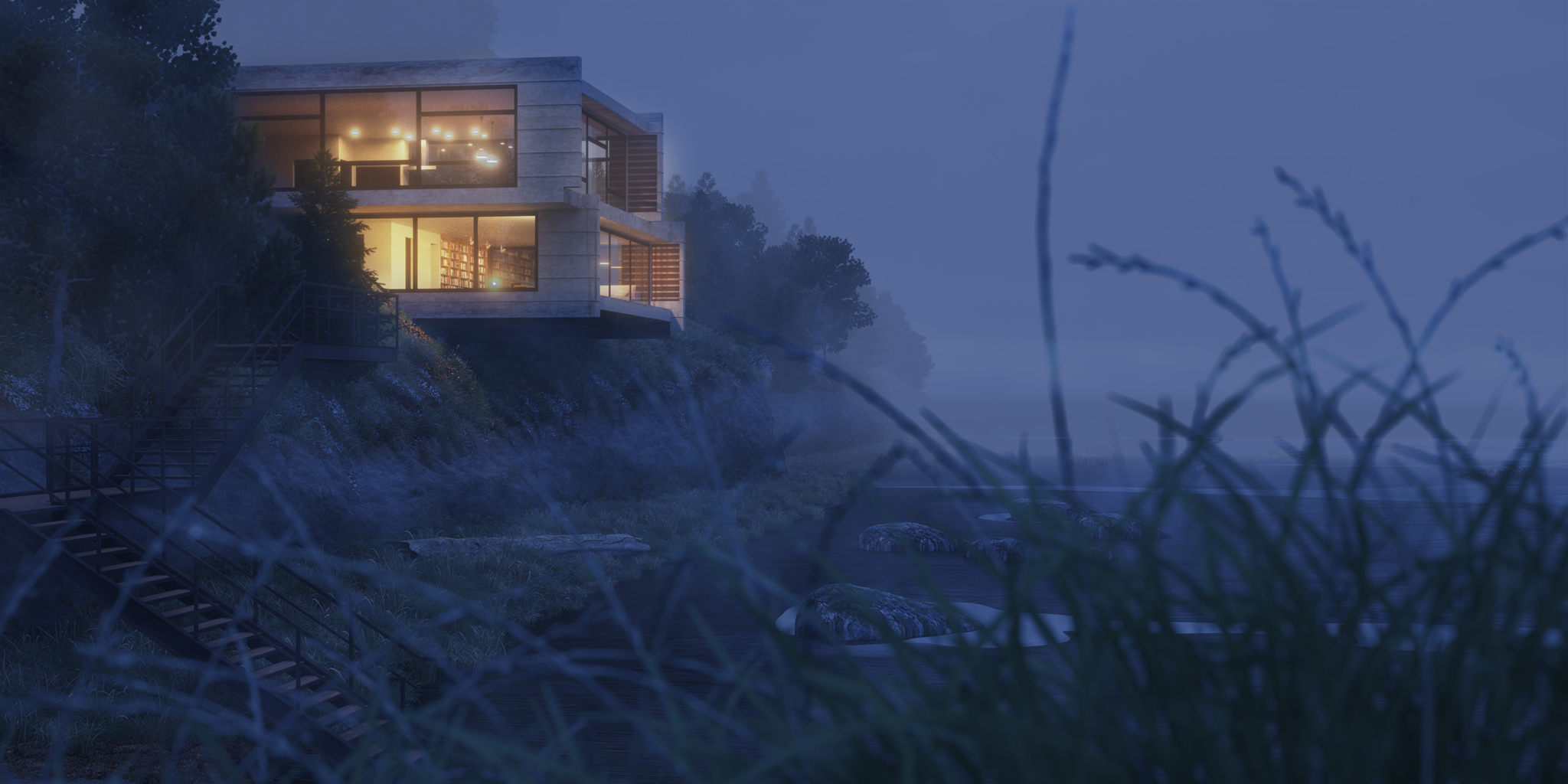 3d rendering of a Hypothetical home on the Oregon Coast