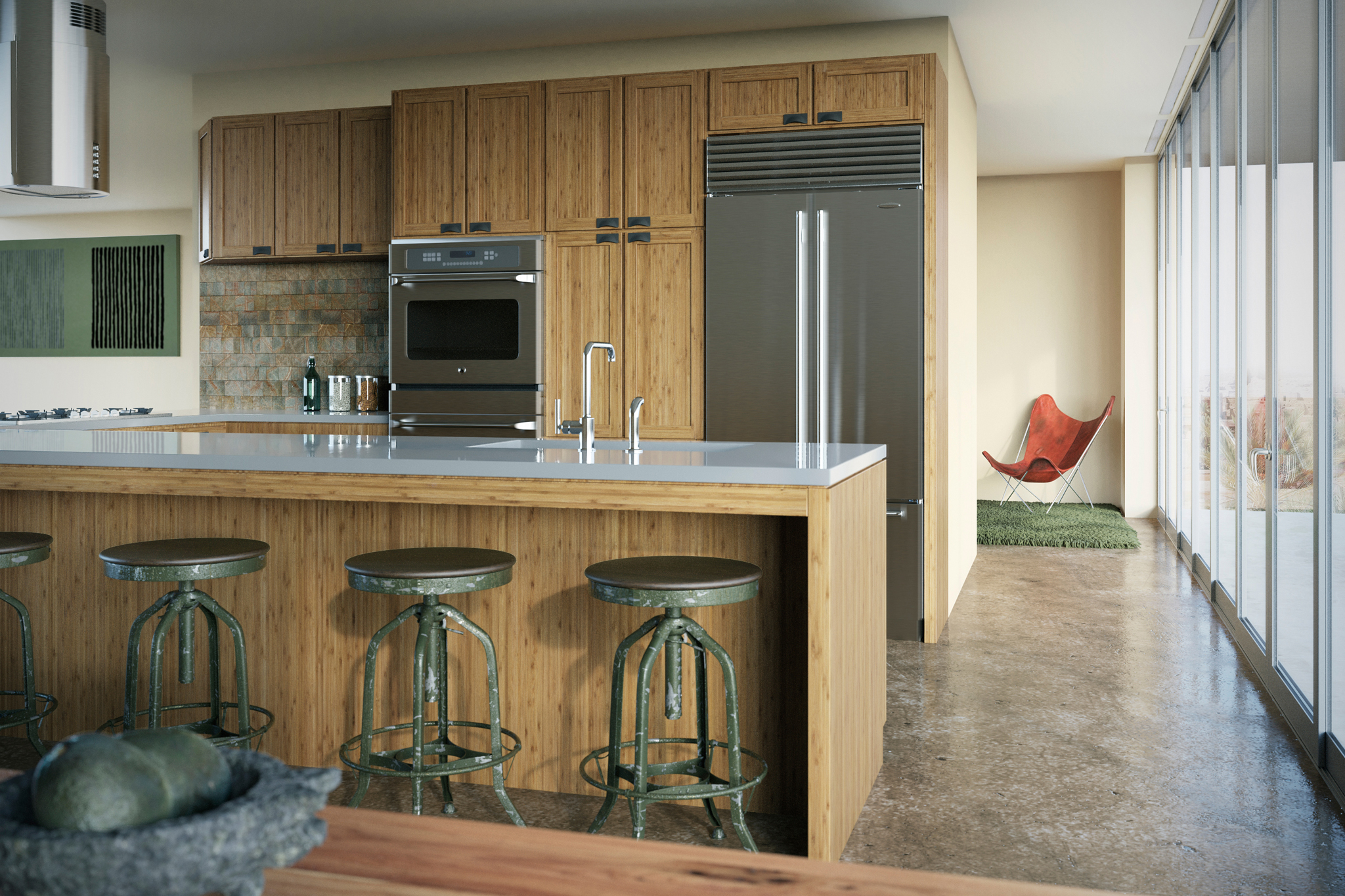 3d rendering of a kitchen with bamboo cabinetry