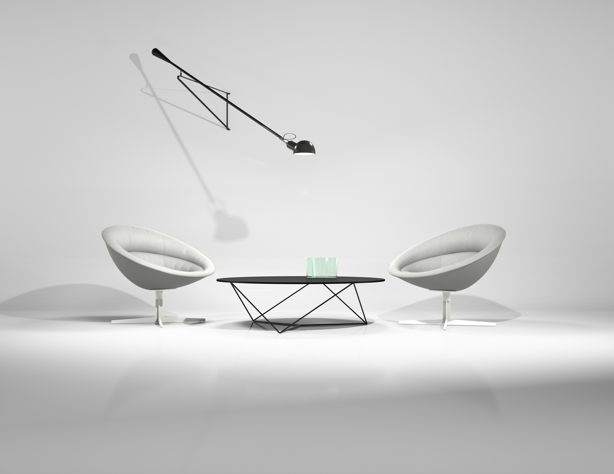 3d rendering of a small furniture set in a white studio