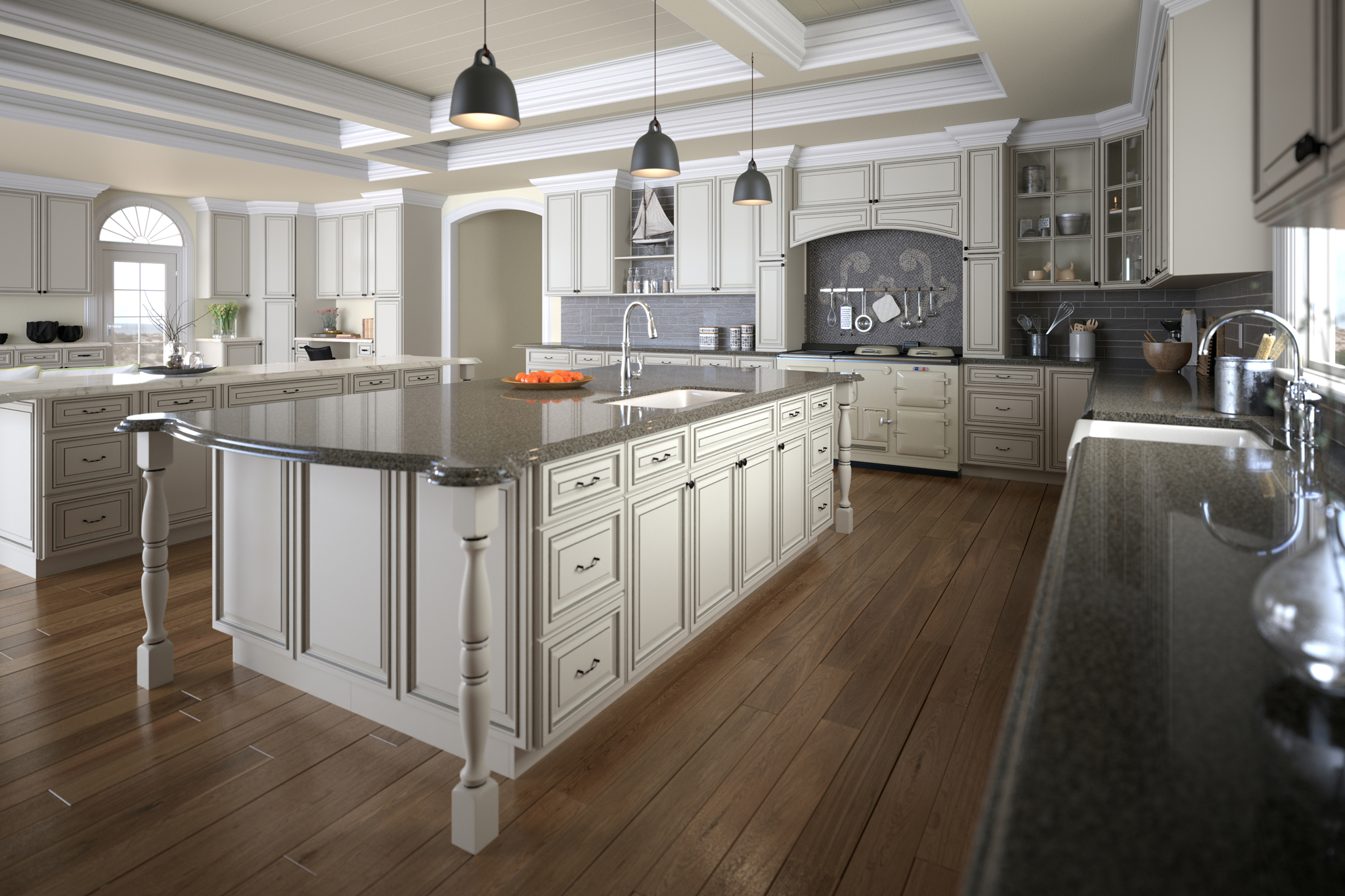 3d rendering of a white kitchen and dining area