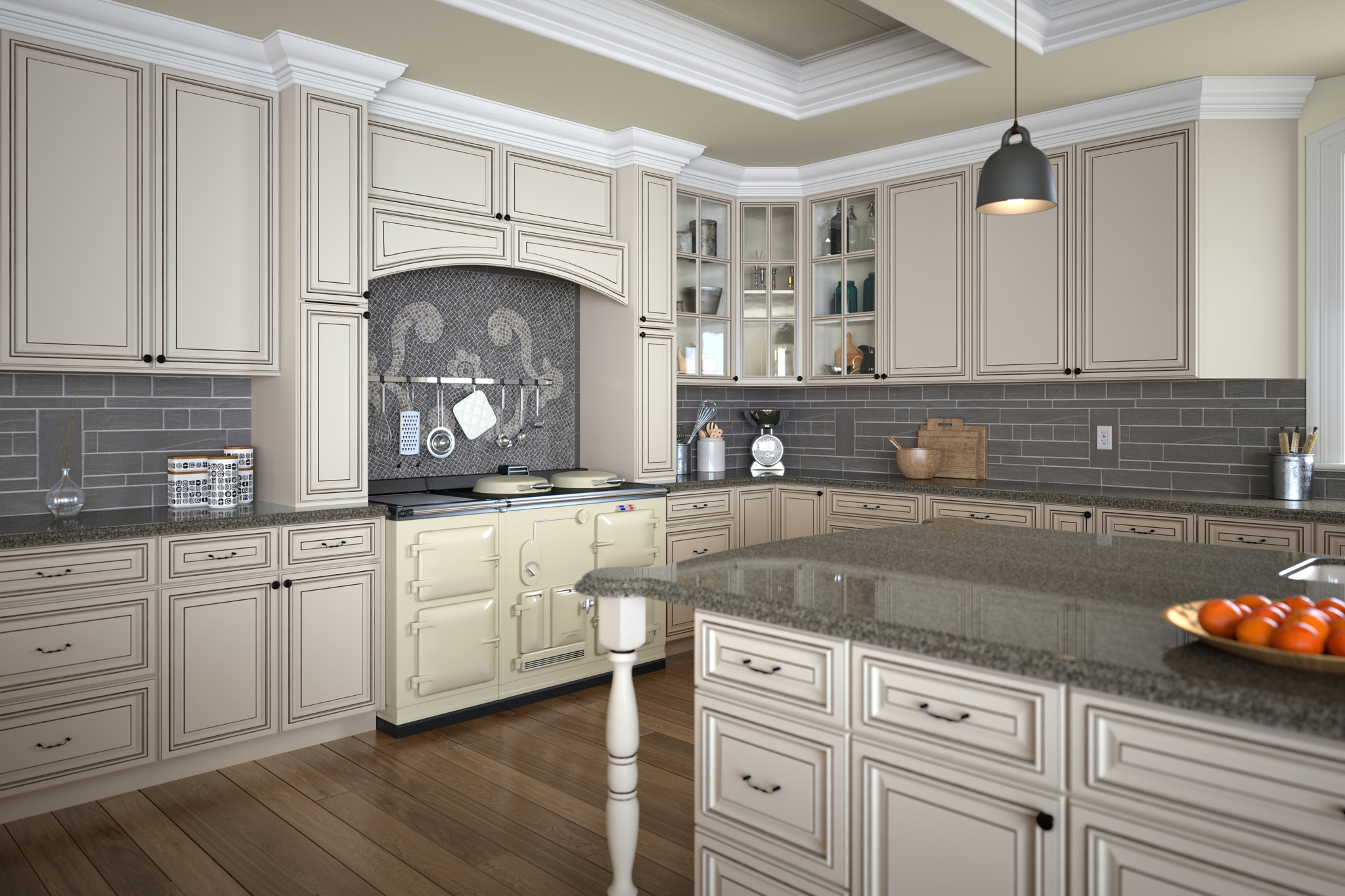 3d rendering of a white kitchen with stove and oranges