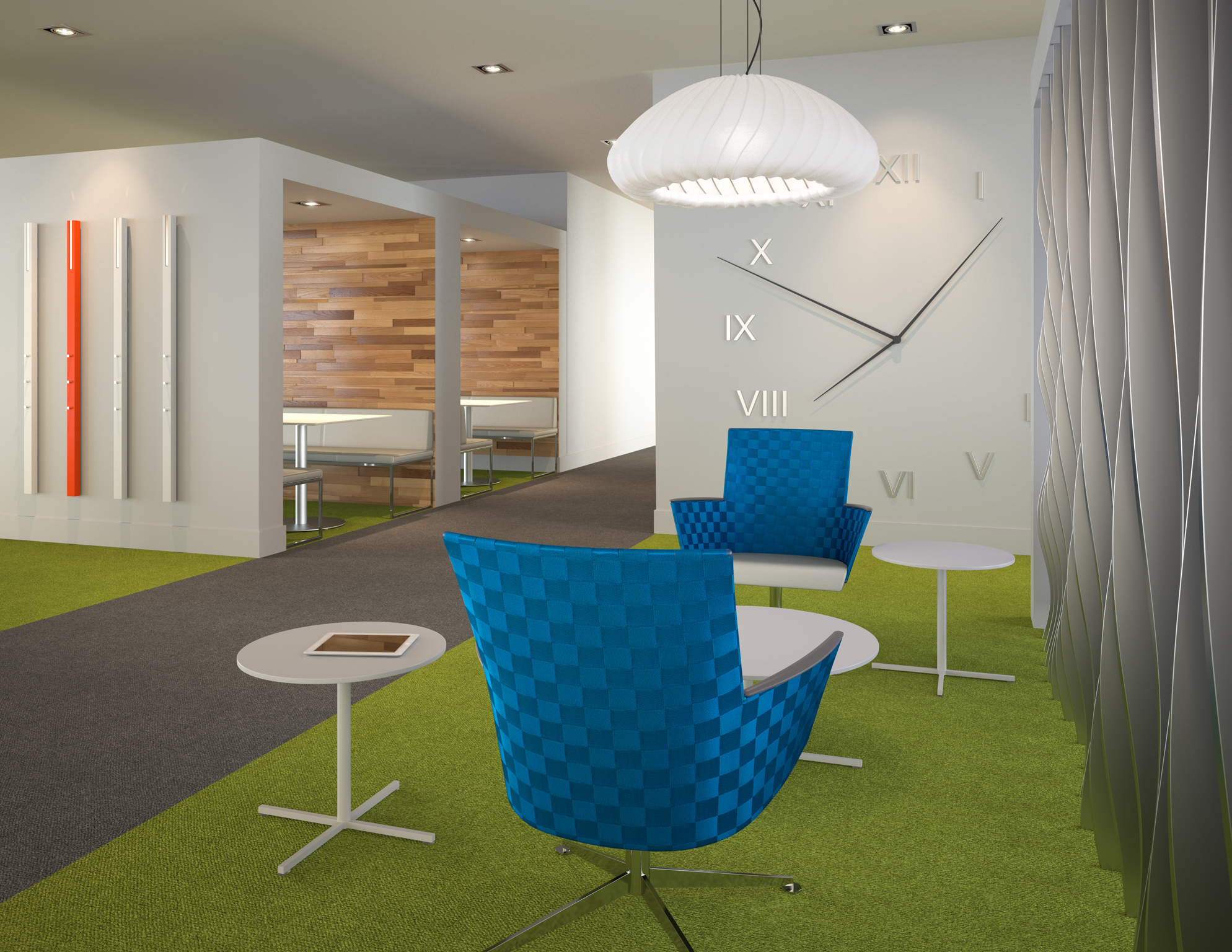 3d rendering of an office breakout space