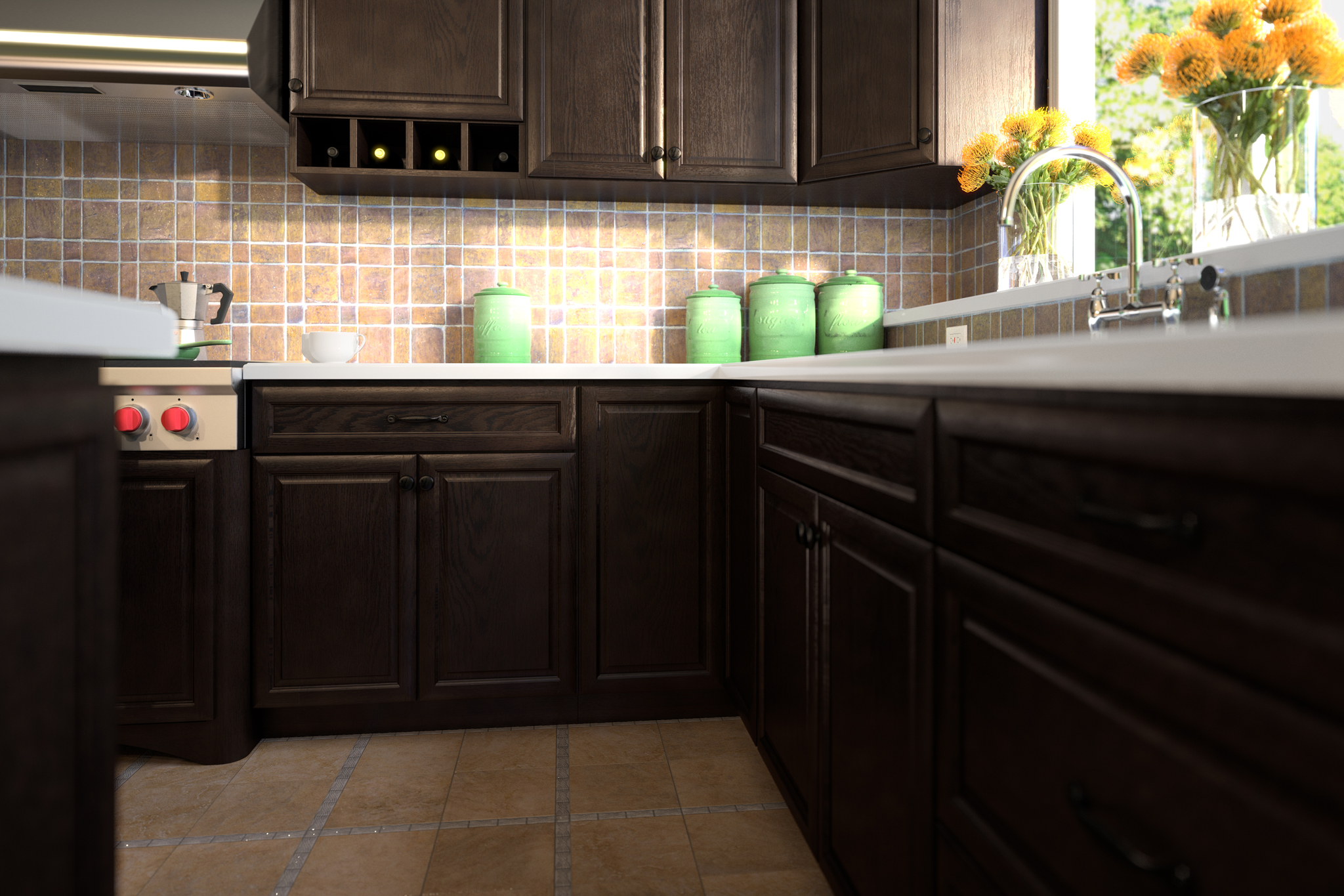 3d rendering of dark kitchen cabinetry and cookie jars