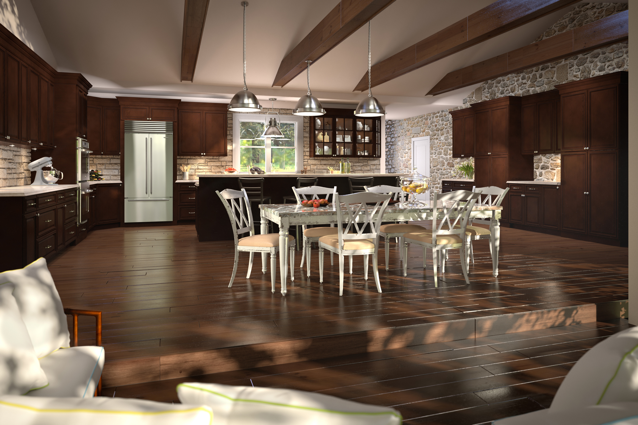 3d rendering of dark kitchen cabinetry and dining area