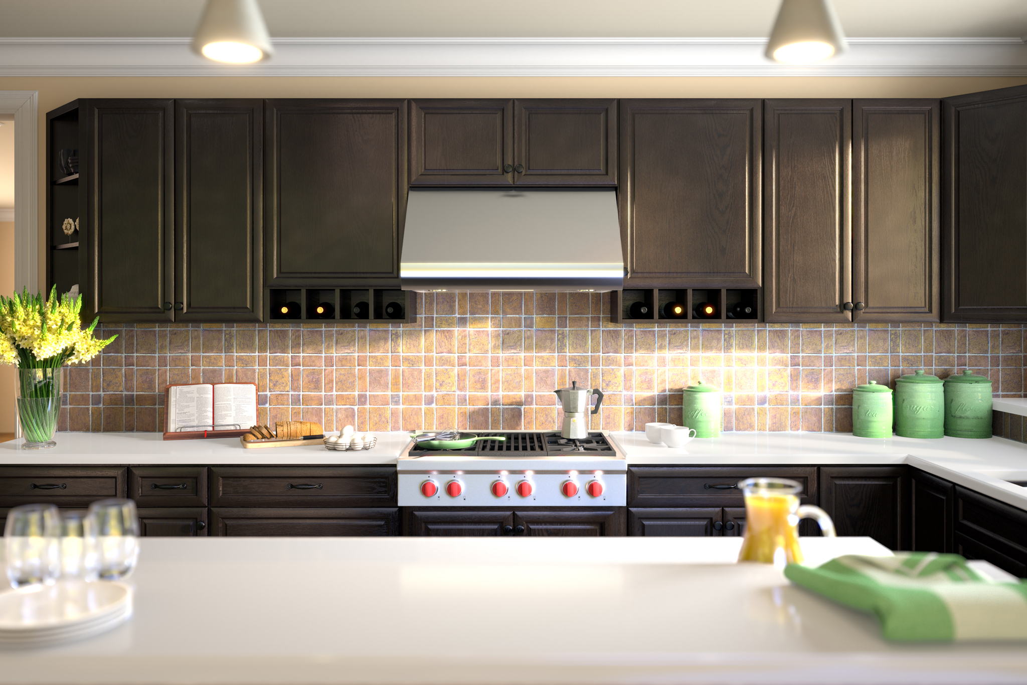 3d rendering of dark kitchen cabinetry and orange juice and eggs
