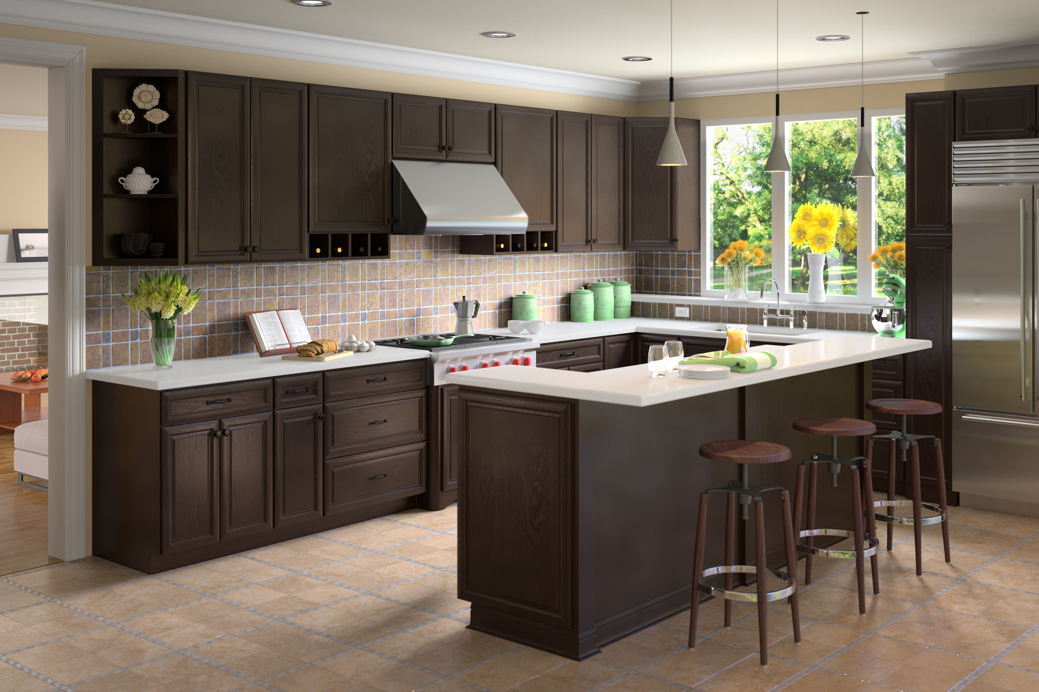 3d rendering of dark kitchen cabinetry and refrigerator