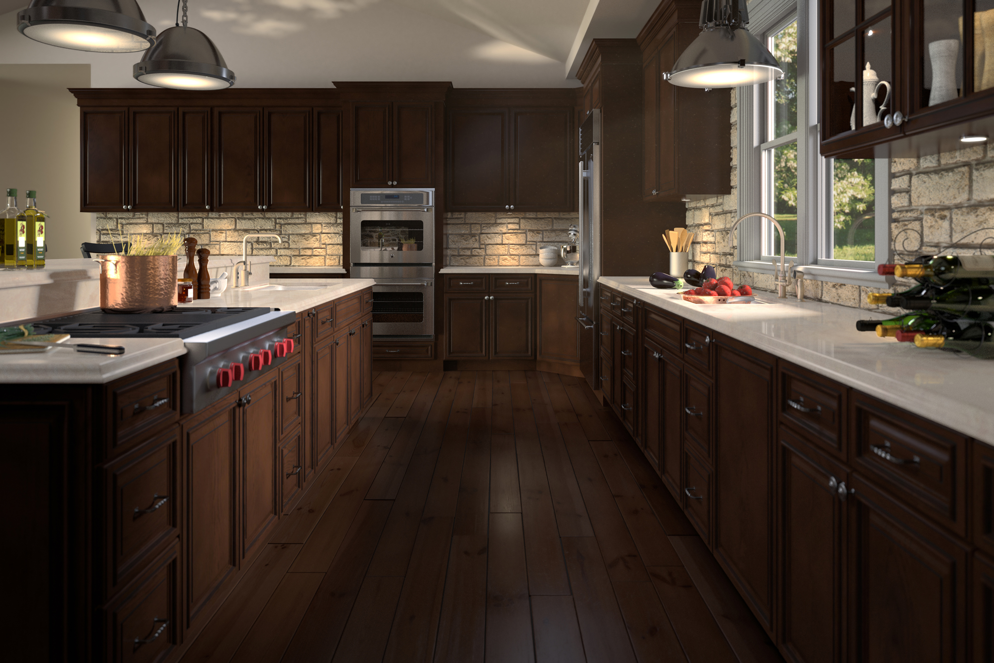 3d rendering of dark kitchen cabinets with pasta on stove
