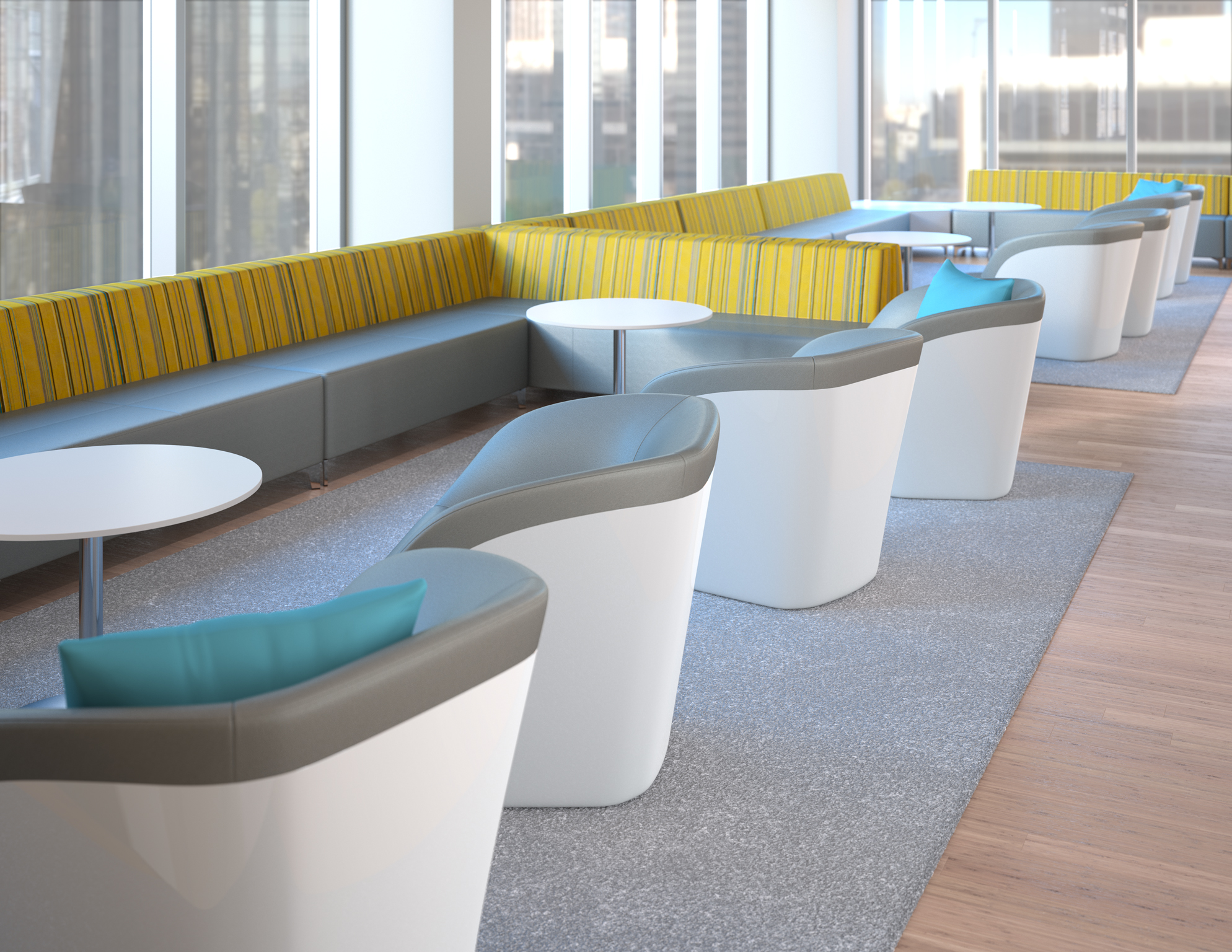 3d rendering of office breakout space furniture