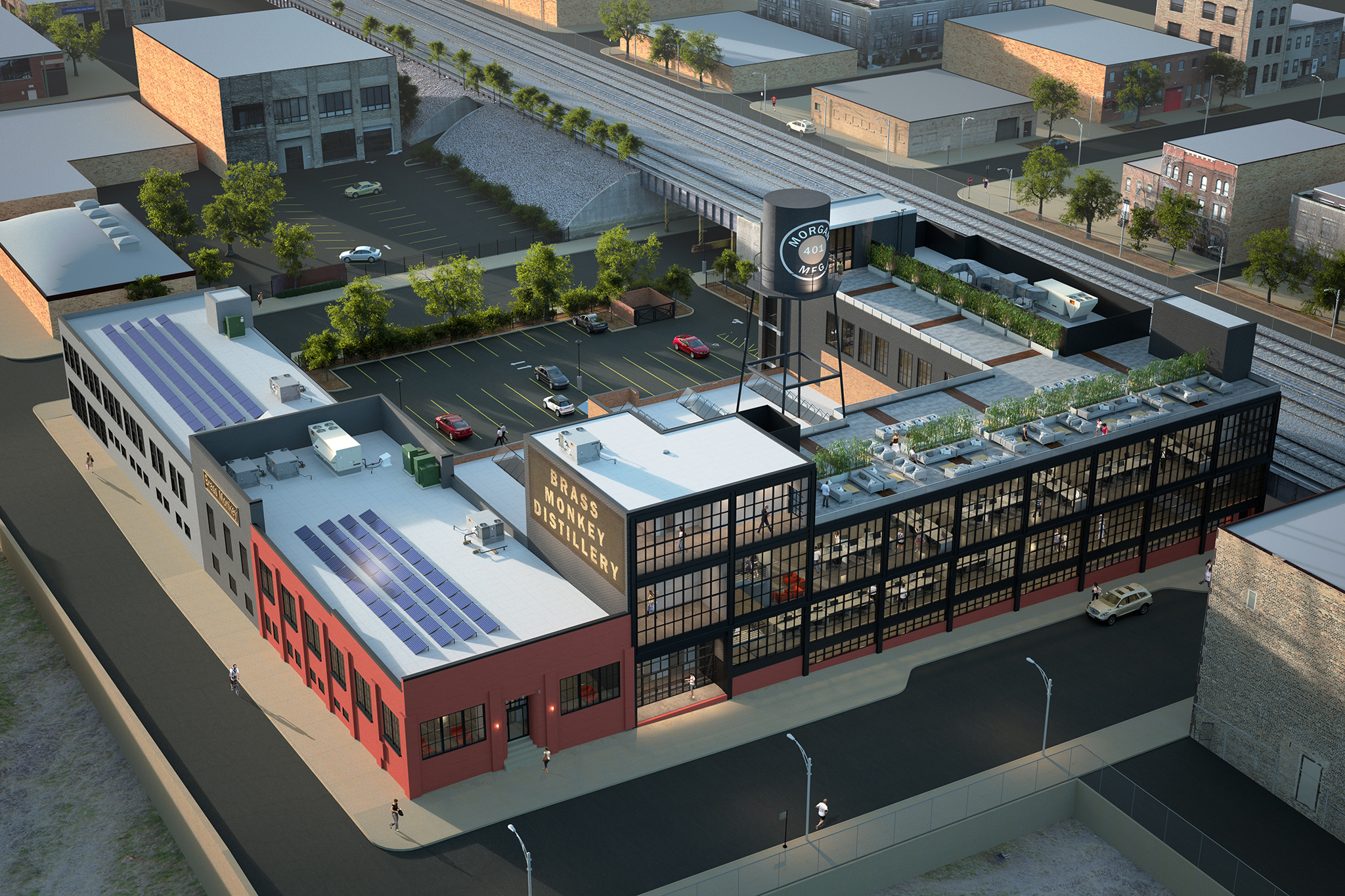 3d rendering of office building in West Loop Chicago