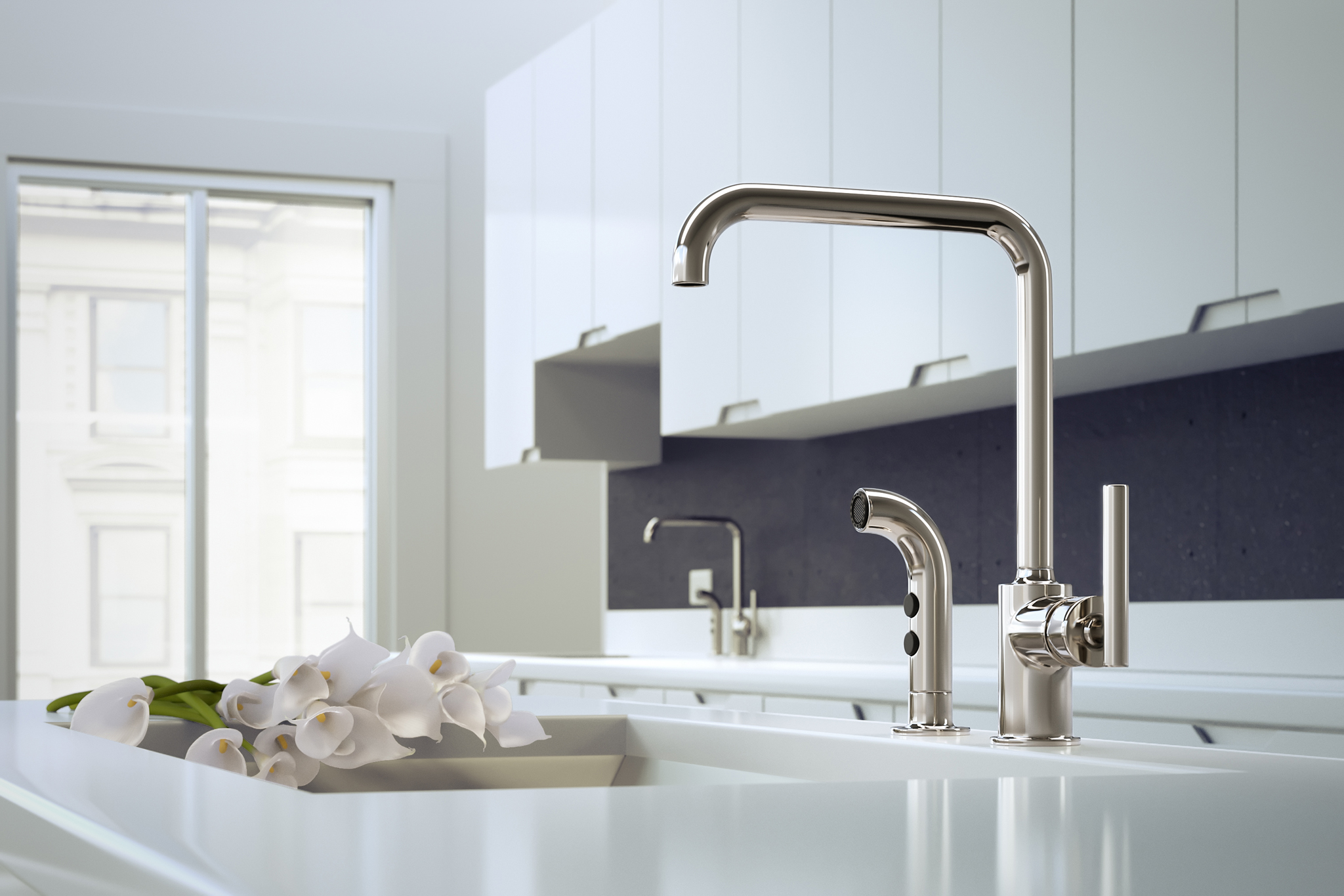 3d rendering of white kitchen cabinetry faucet and flowers