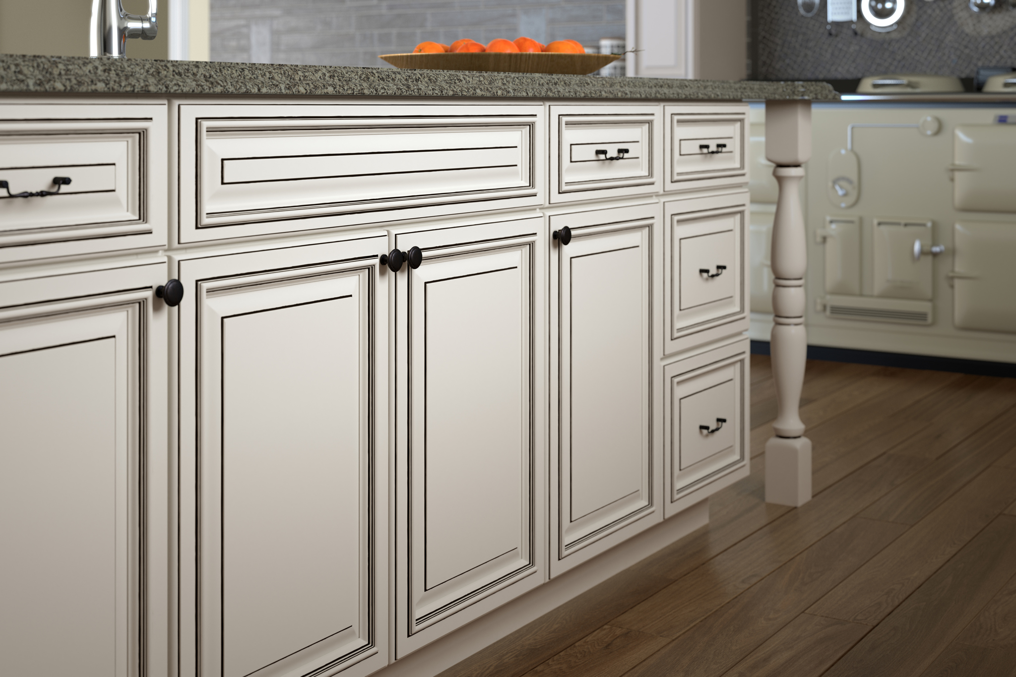3d rendering of white kitchen cabinets