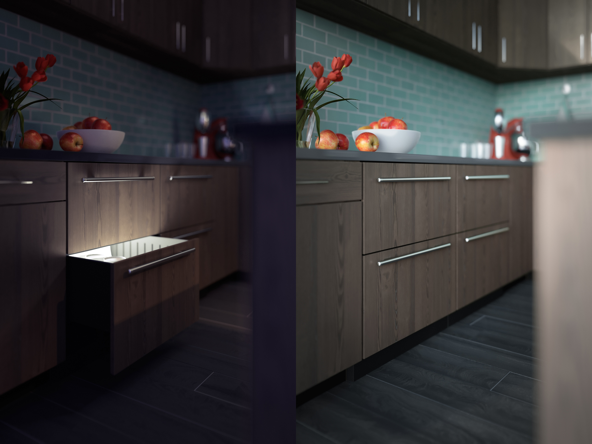 day and night 3d rendering of an undercounter fridge