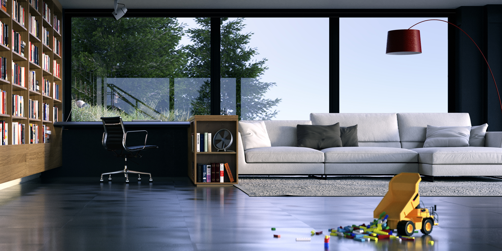 Living room with toys rendering