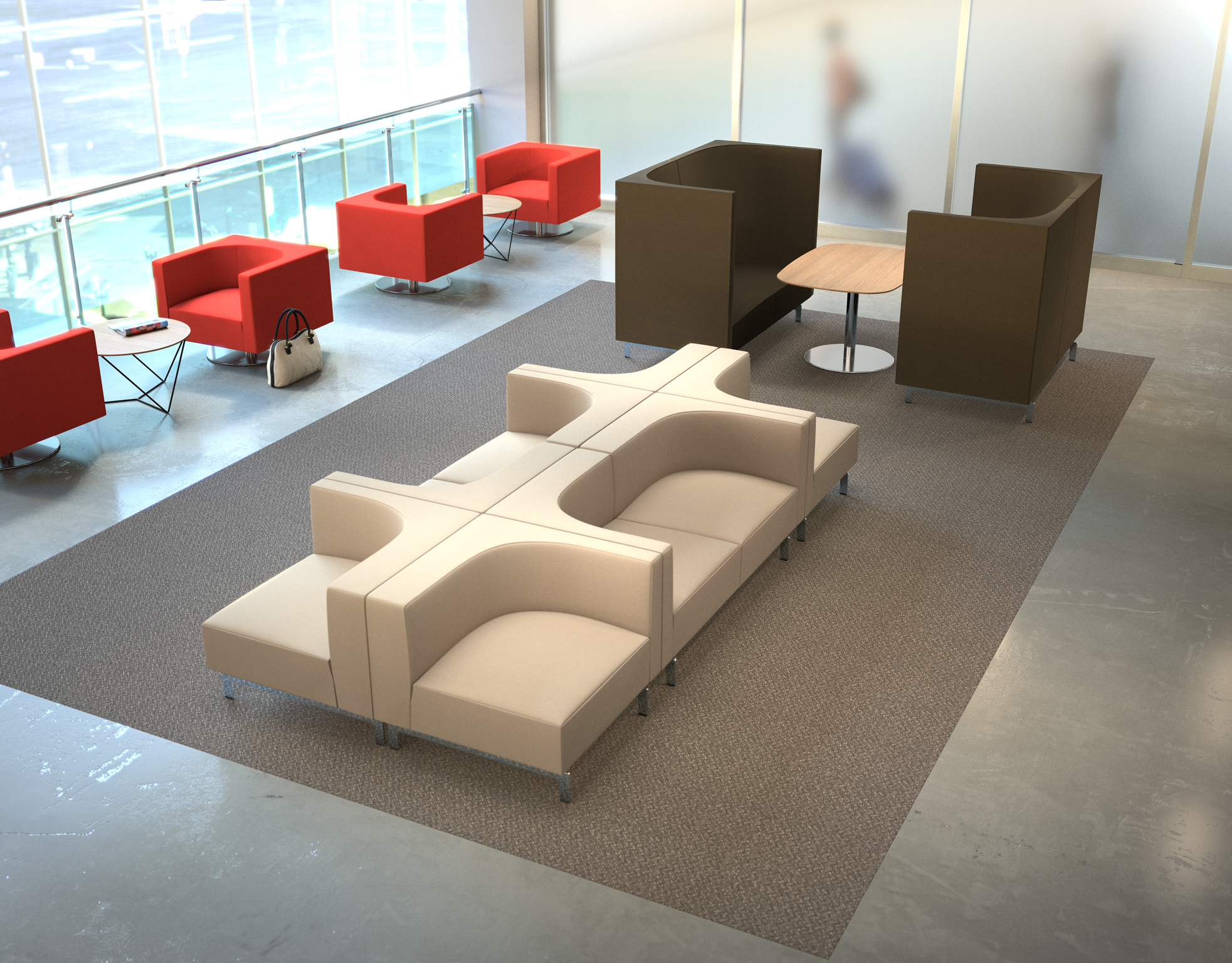 office lobby furniture 3d rendering