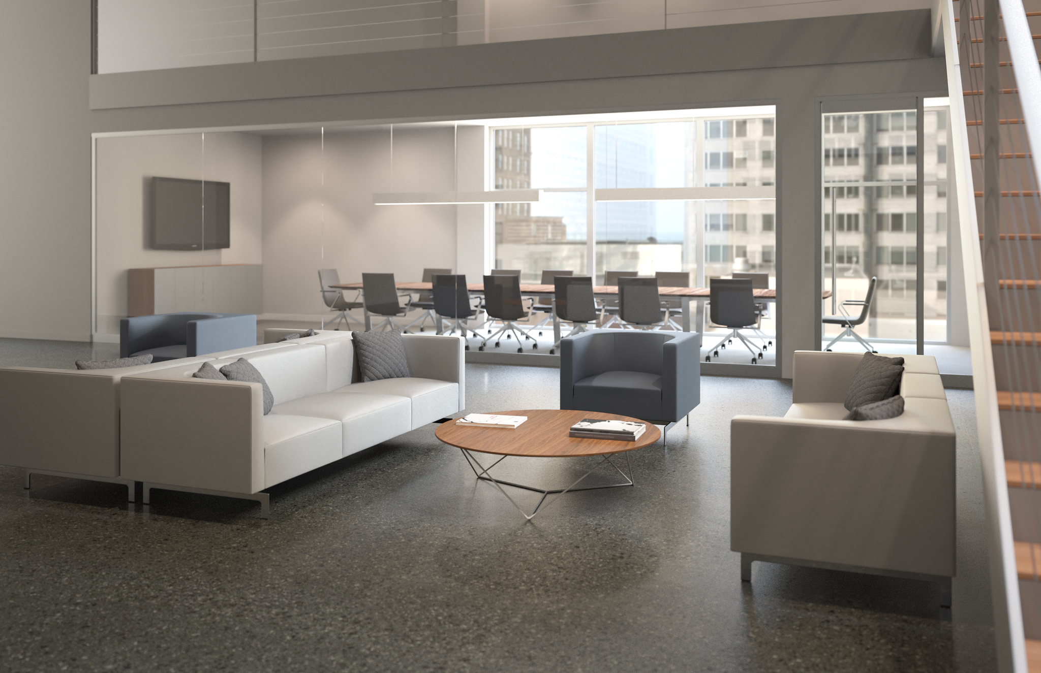 office conference lounge furniture 3d rendering
