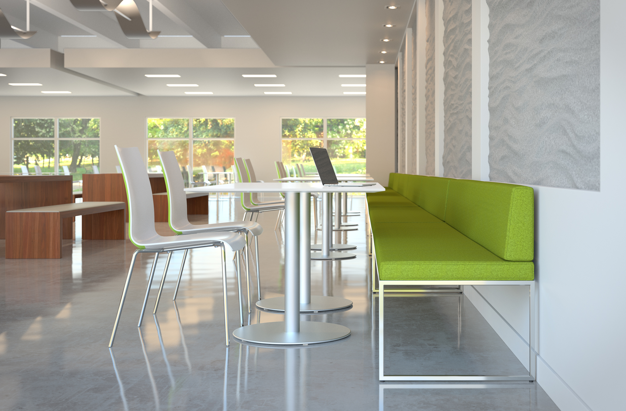 office cafeteria furniture 3d rendering