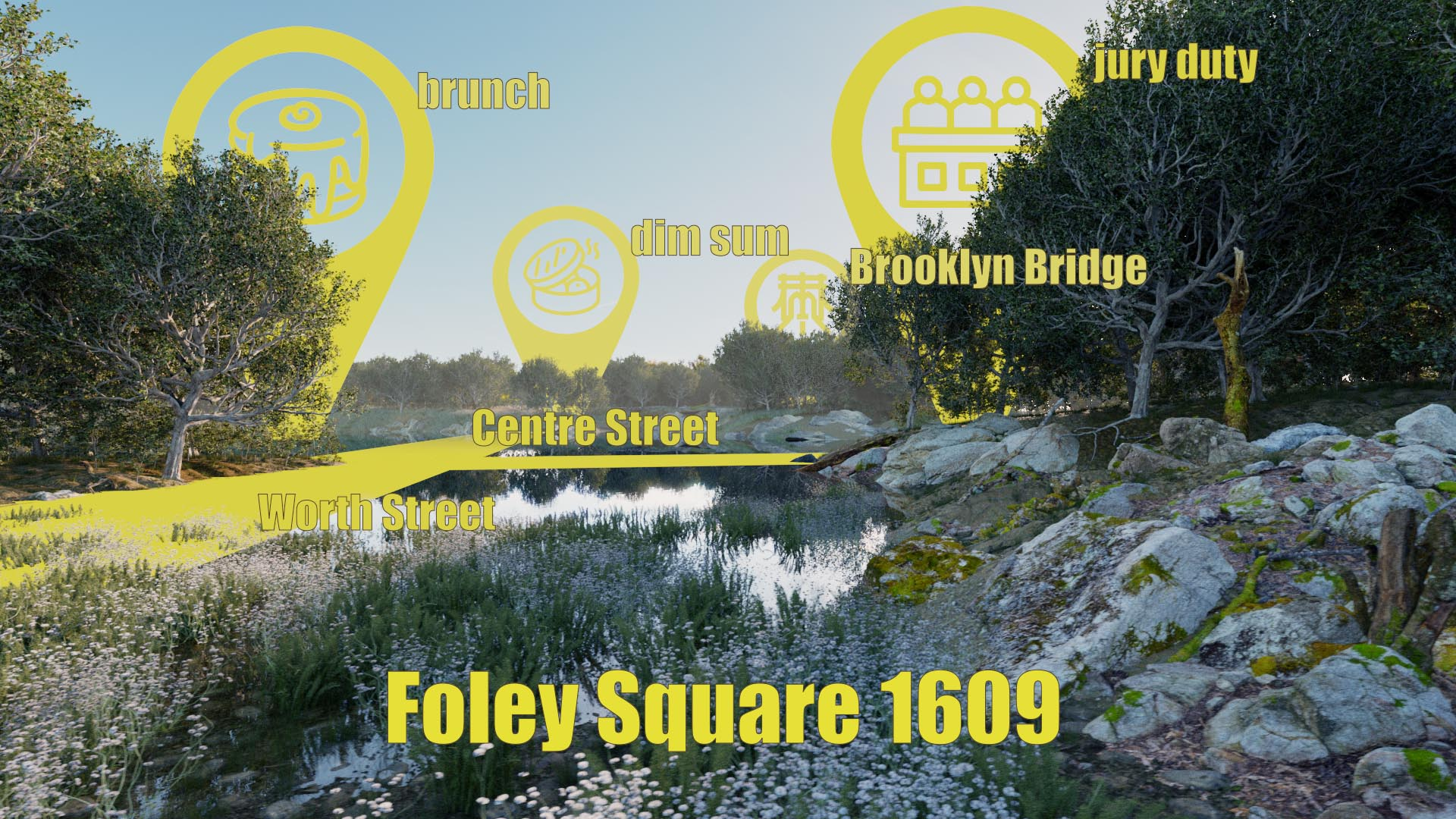Historic 3d recreation rendering of Collect Pond and Foley Square in New York City circa 1609