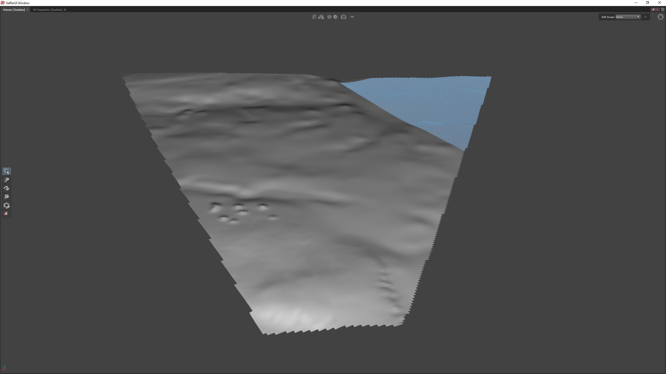 A subset of the landscape tiles used for a view looking south from the southern tip of Manhattan. Tile points outside of the view frustum are removed, leaving a much lighter mesh to render. The tile in blue is selected for editing. The resolution here is a preview resolution of 5m grid spacing.